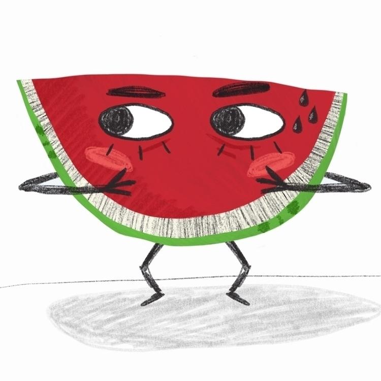 illustration, art, watermelon - hattiemakesthings | ello