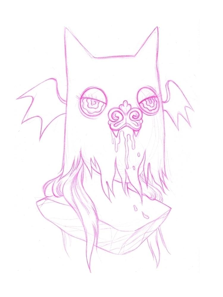 Pink pencil sketch upcoming mur - bamcat | ello
