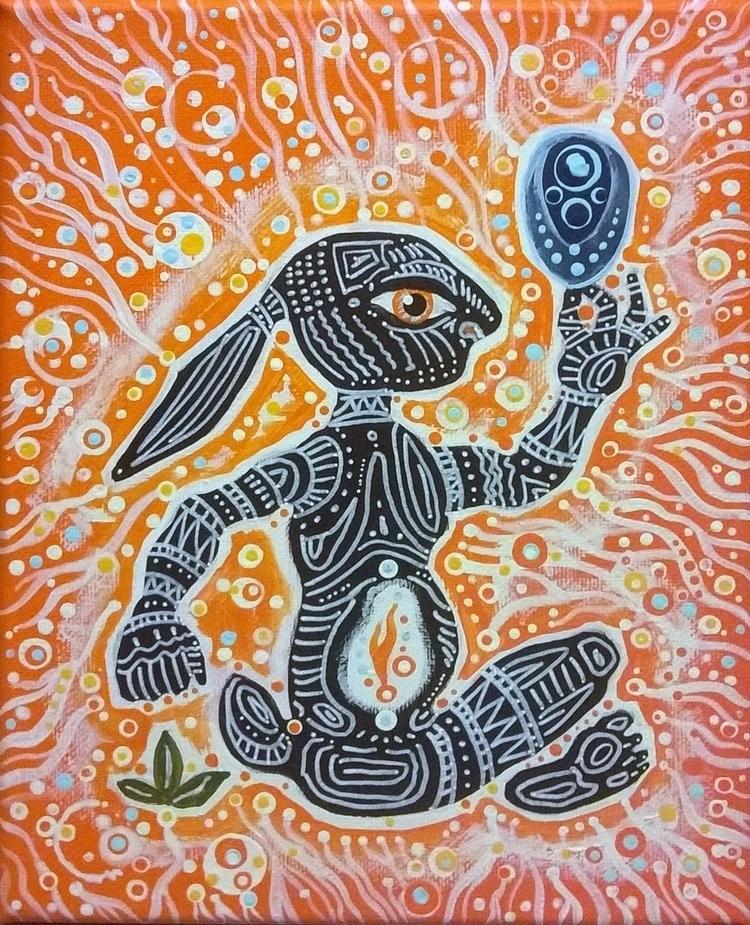 Rabbit Man -- (2016) 8 10 acryl - micksylvestre | ello