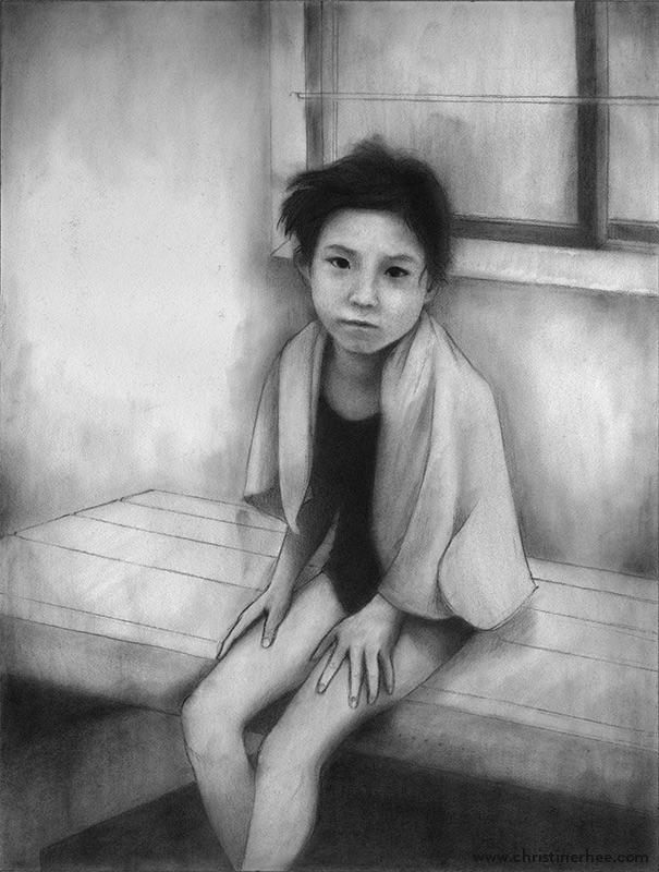 "Silent (9""x12"" graphite illustr - christinerhee | ello"