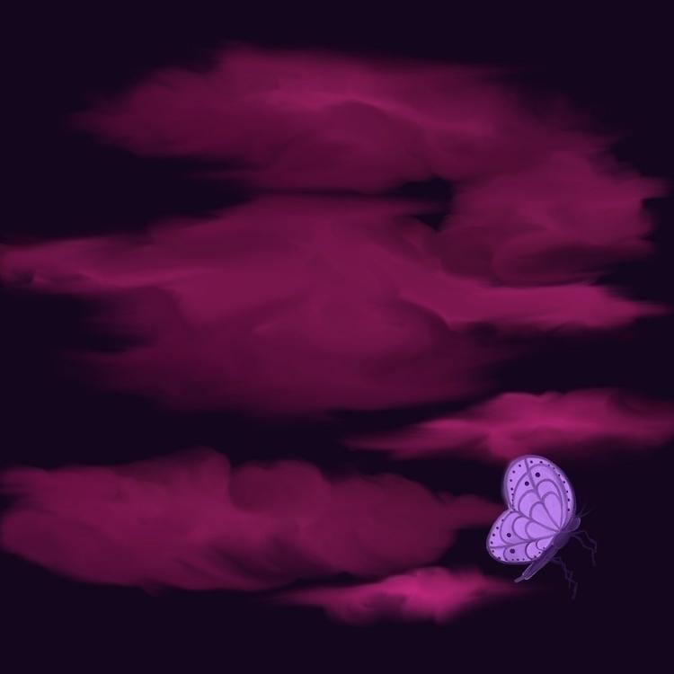 Butterfly Night Sky. Digital pa - kerastarrart | ello