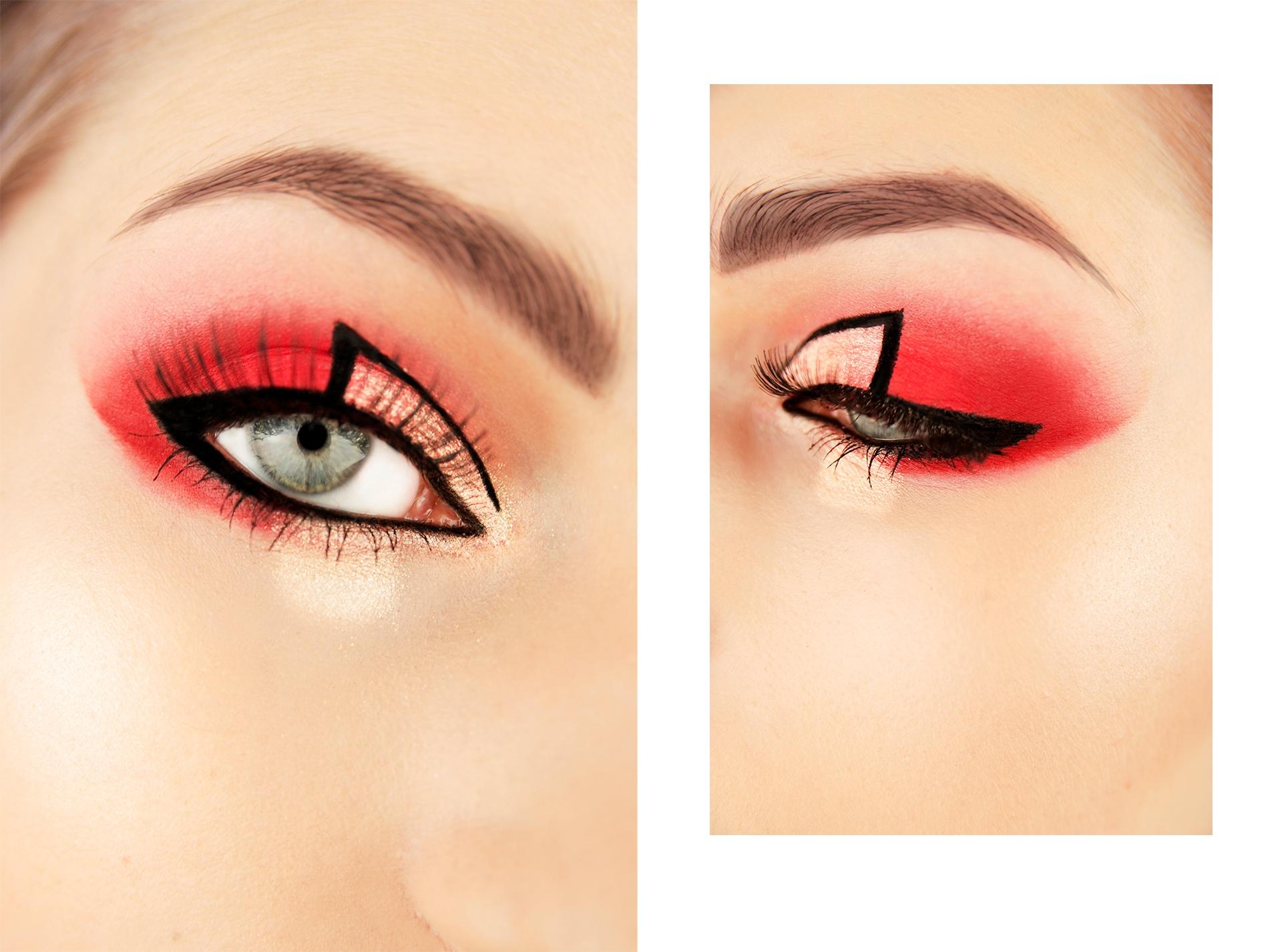 Obraz przedstawia dwa zdjęcia, na których widzimy oko w złoto-czerwonym makijażu.