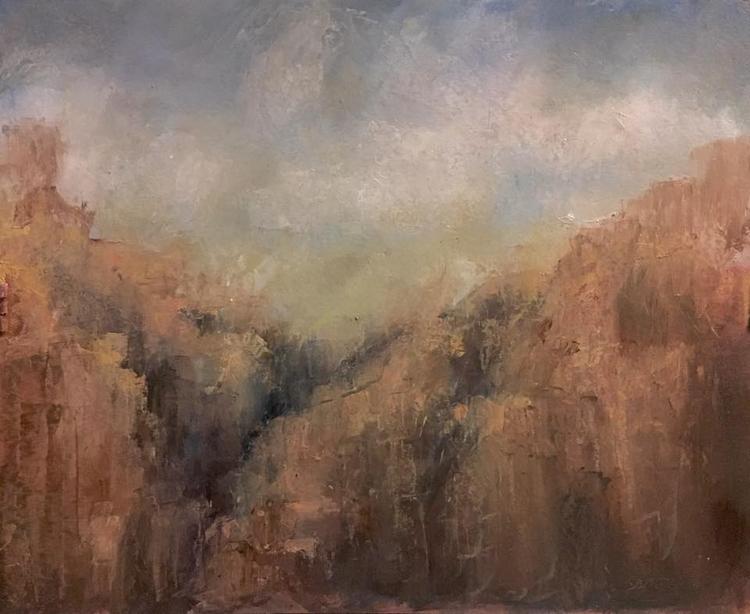 Sunrise Berdoo Canyon 8 10 Oil  - samtgadventureartist | ello