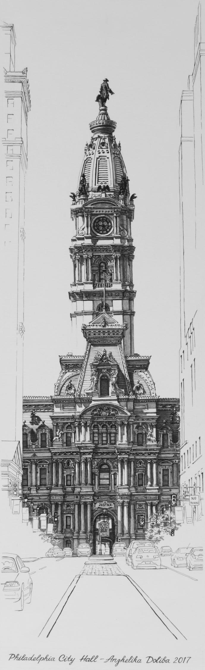 Philadelphia City Hall. Drawing - anzhelikadoliba | ello