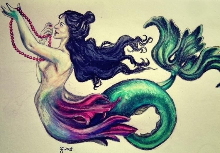 Birthday mermaid friend 1st art - clovecigarettes   ello