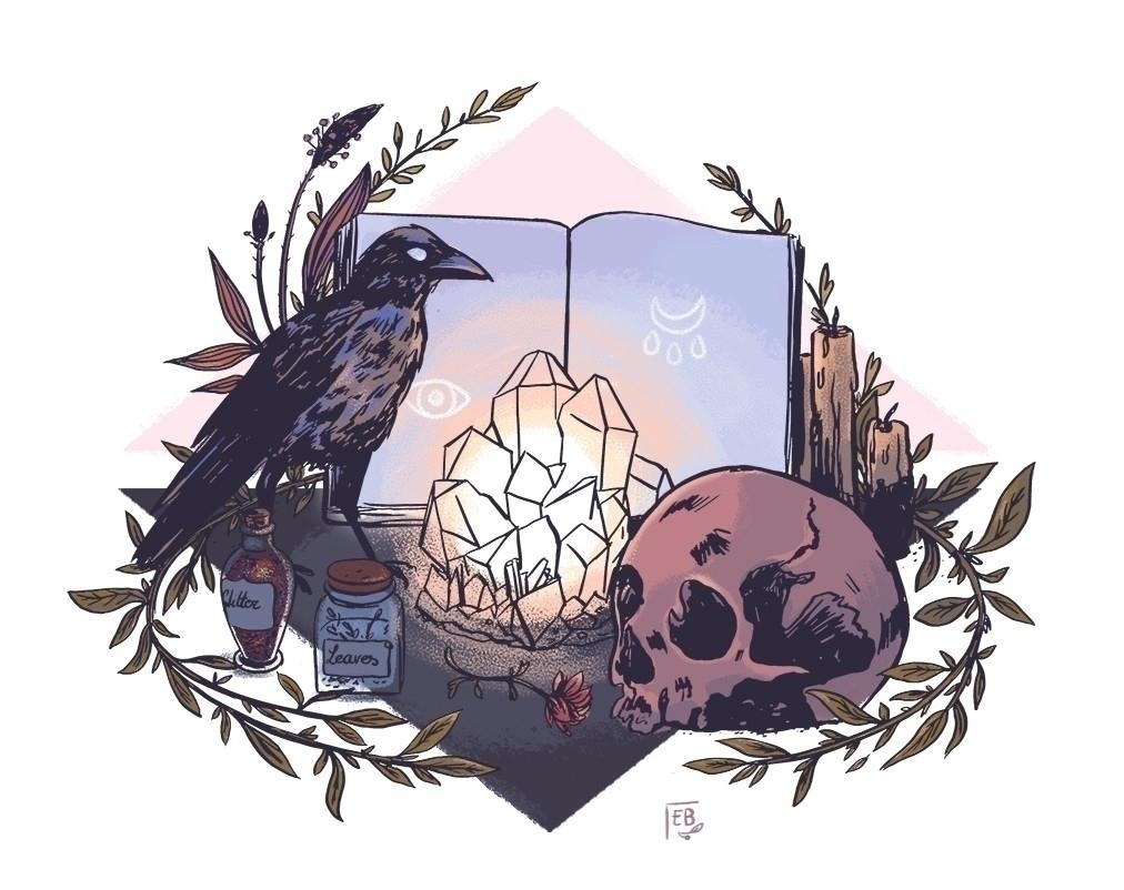 Witchy altar  - illustration, artwork - elleabird | ello