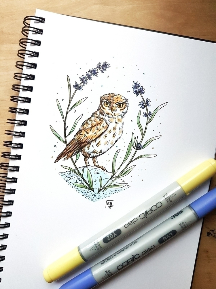 Hey, post owl started!  - illustration - elleabird | ello