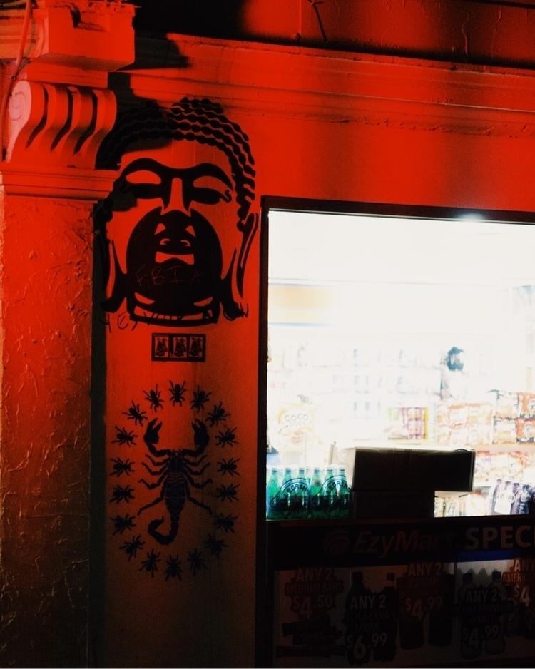 buddha stalking - red, city, street - kubothekid | ello