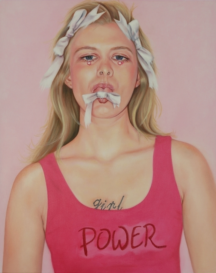 'Pink powers oil linen, Feminis - janinedello | ello