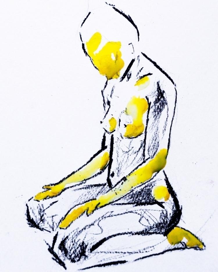 girl pose sketch ; medium: char - zuzanapraus | ello