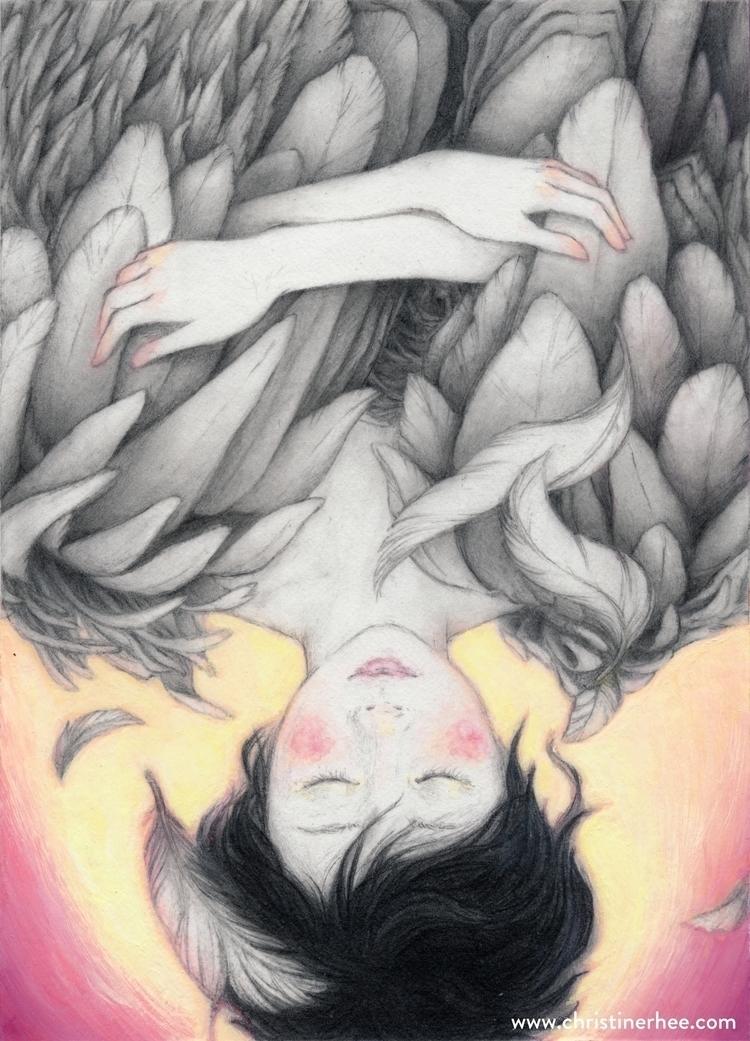 Falling (5 7 graphite acryla go - christinerhee | ello