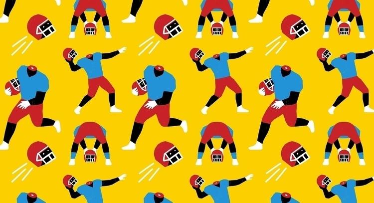 Heads - football, pattern, illustration - grossillustration | ello