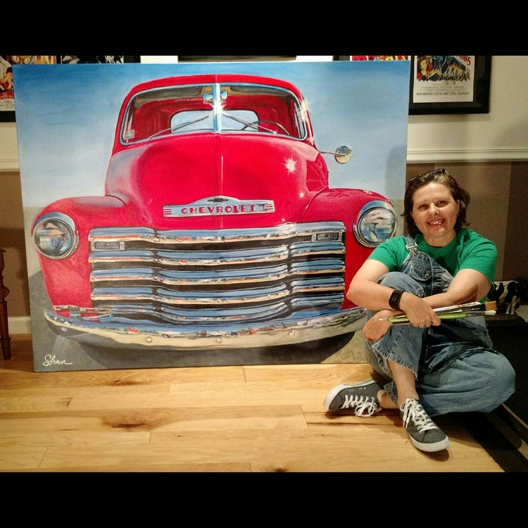 """1951 Chevrolet Truck"", 48″x60 - shanfannin | ello"