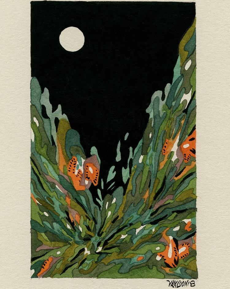 Flowers night. Watercolor gouac - jacobvanloon | ello
