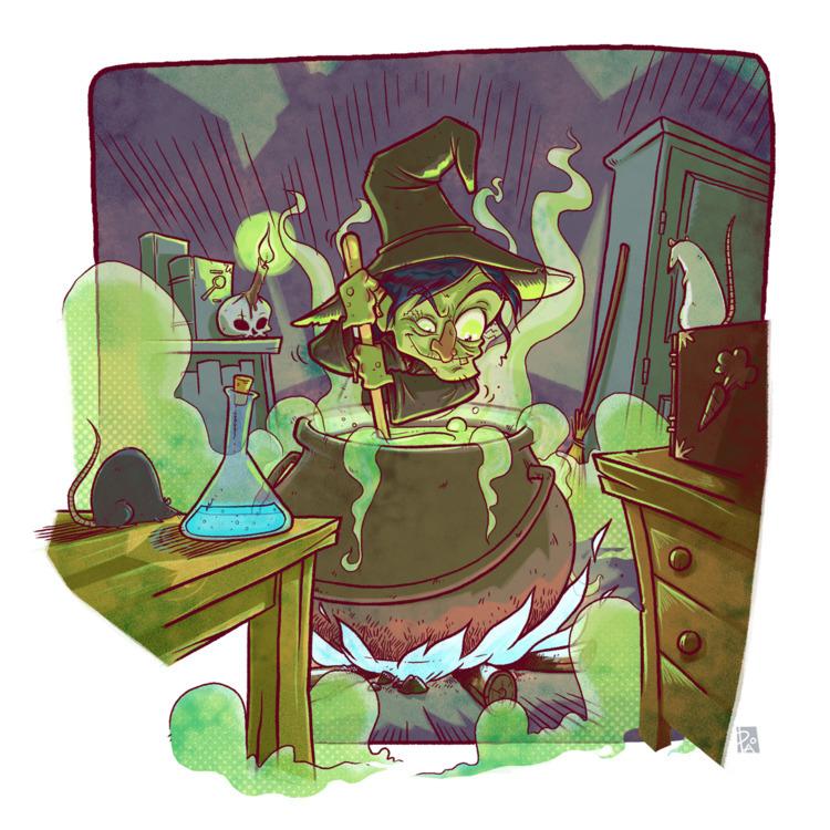 illustration, witch, sorcière - madeinpao | ello
