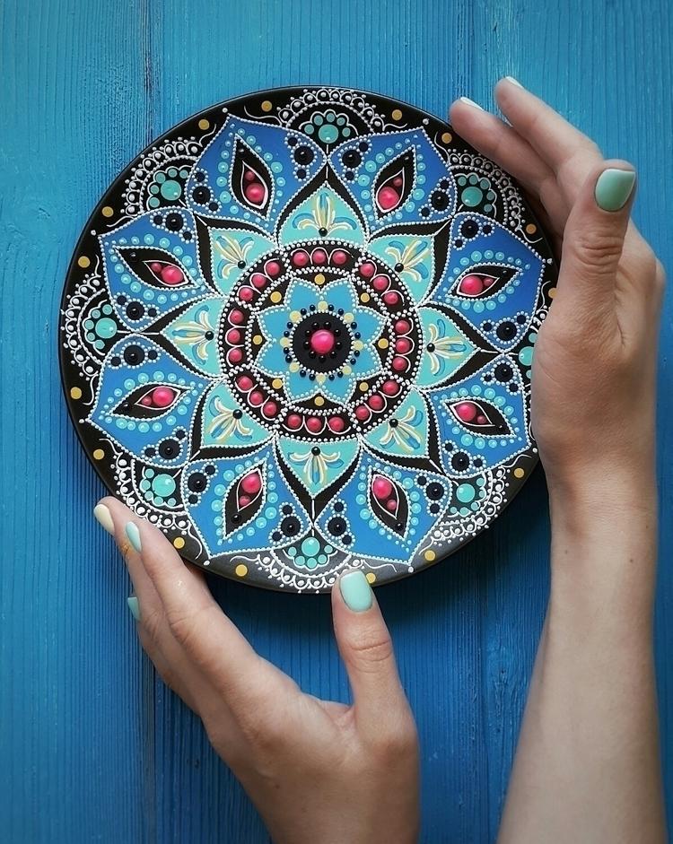 mandala, morocco, cobalt, acrylic - estriadaartworks | ello