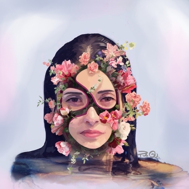 art, girl, digitalart, pink, flowers - paola_reespassword1 | ello