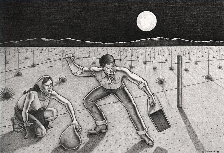 "Immigrants"" (1986, pencil paper - jeffreywiener 