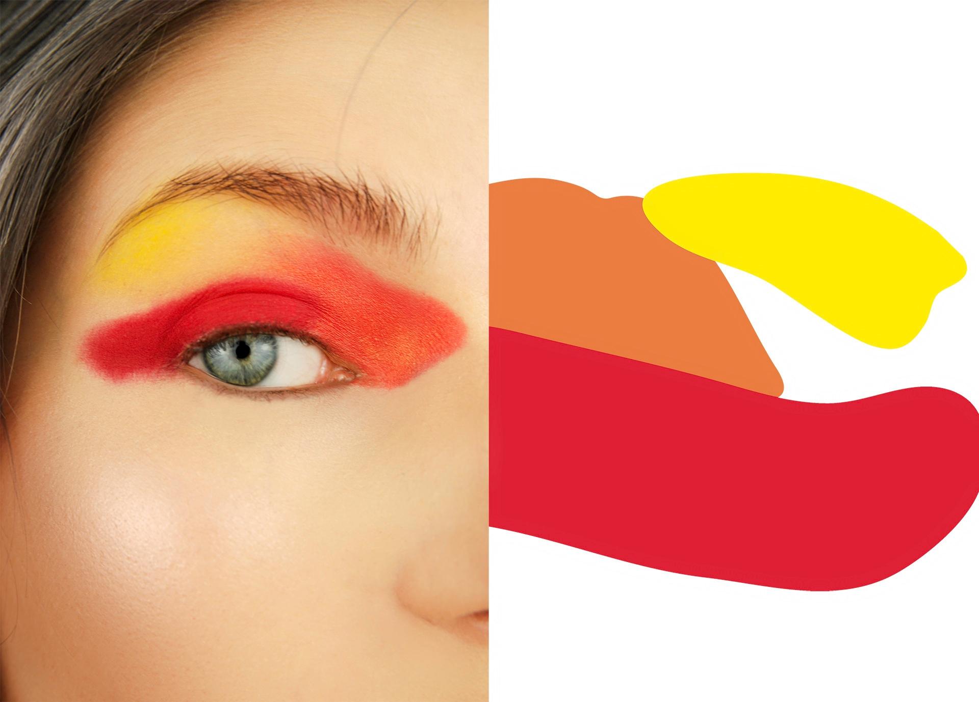 Obraz przedstawia plamy w kolorze czerwonym, pomarańczowym i żółtym oraz makijaż oka w tych samych barwach.