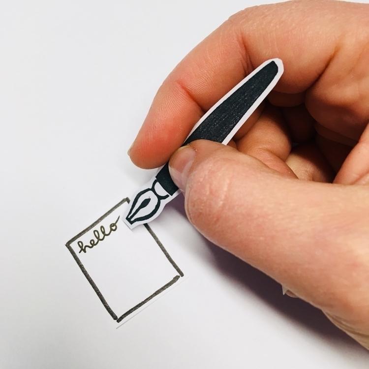 teeny tiny dip pen stamp - dippen - studiomalu | ello
