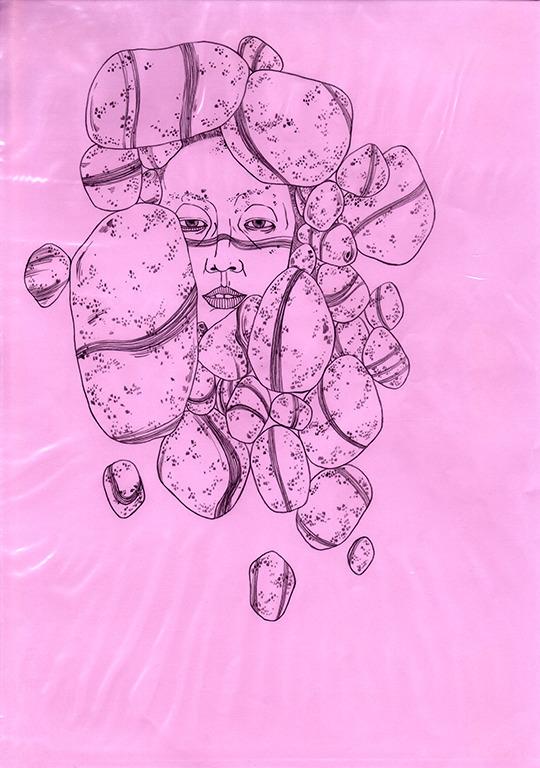art, drawing, portrait, pink - linsshit   ello