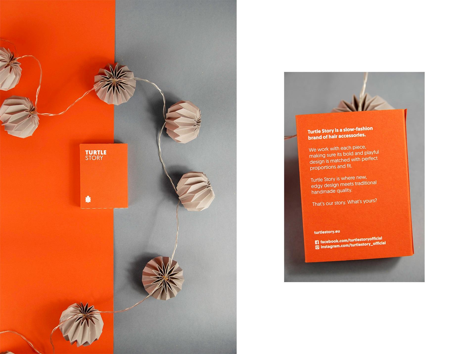 Obraz przedstawia dwa zdjęcia różnej wielkości. Na jednym widzimy pomarańczowe pudełko leżące na szaro-pomarańczowym podłożu w otoczeniu szarych, papierowych lampek. Na mniejszym zdjęciu widzimy zbliżenie na pudełko z białymi napisami.