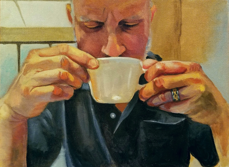 Thai, Drinking Tea - portrait, oilpainting - ellenstarrlyon | ello