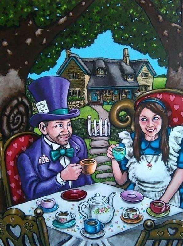 'Mad Tea Party' acrylics card - wynsexon | ello
