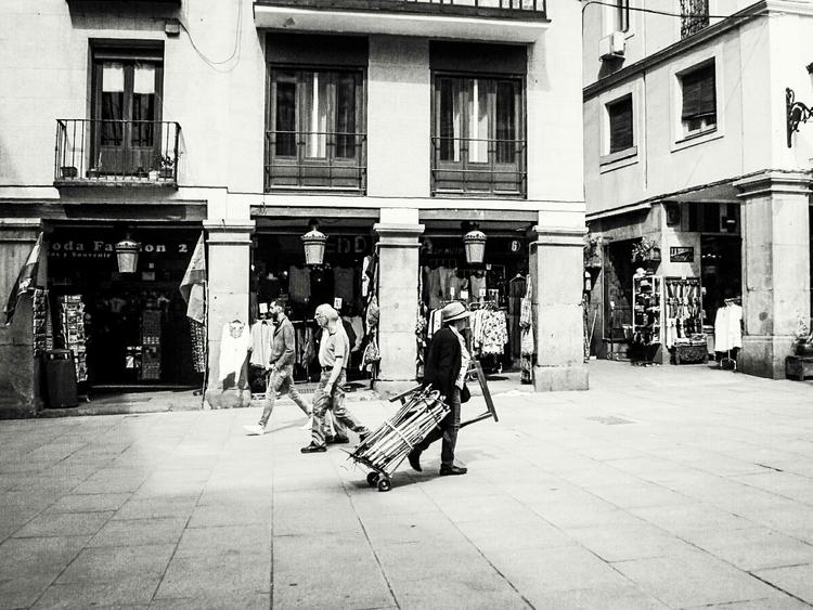 Street scene Man handcart Plaza - vi_bellingham | ello