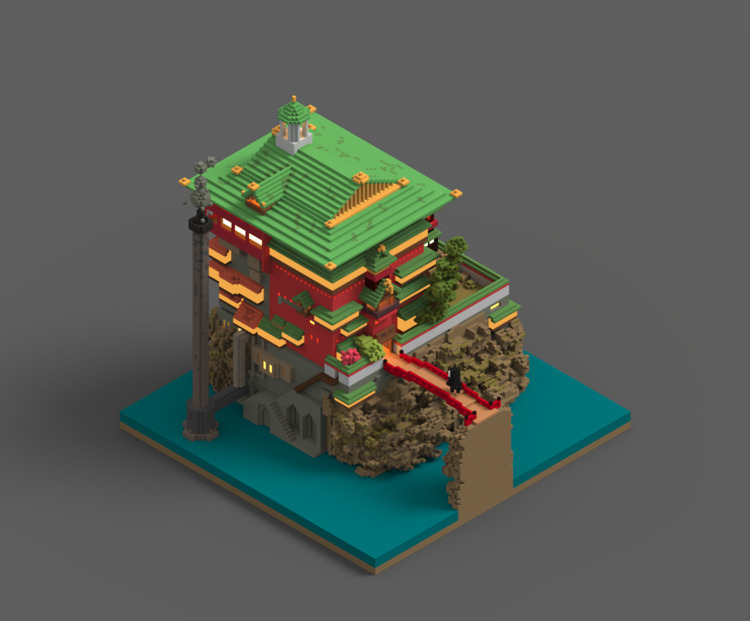 Bathhouse Spirited Voxel Art - 3D - sancakac | ello
