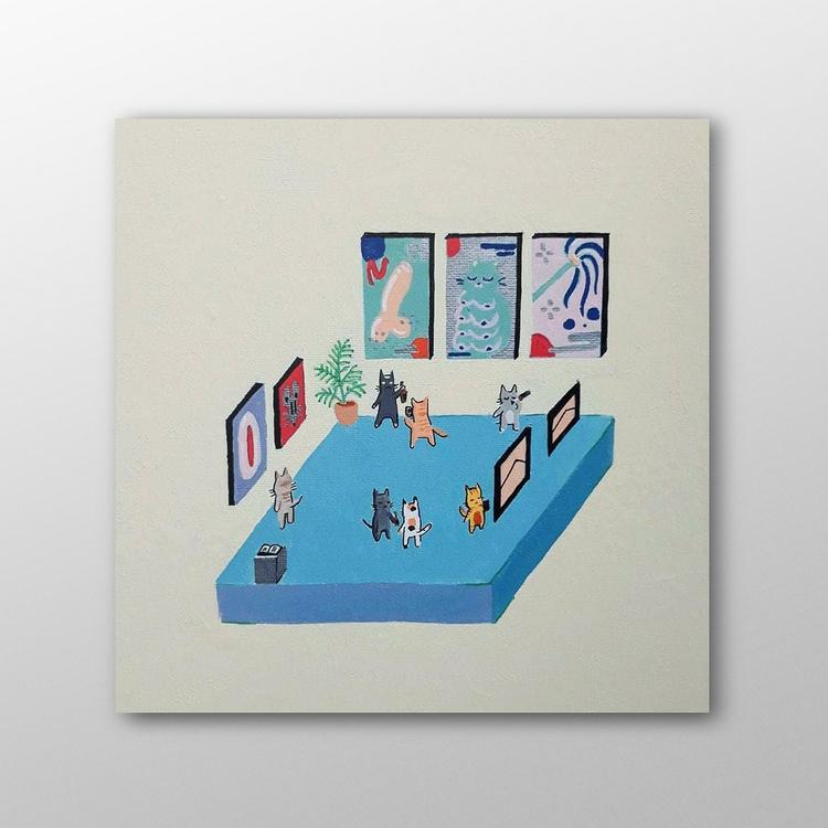 Cat Bless Home, Acrylic Canvas - ivanatyler | ello