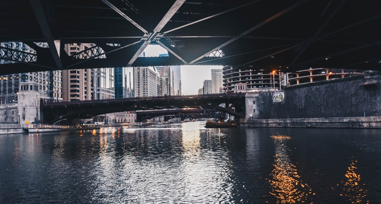 bridges, water, reflection, chicago - thelovelychung | ello