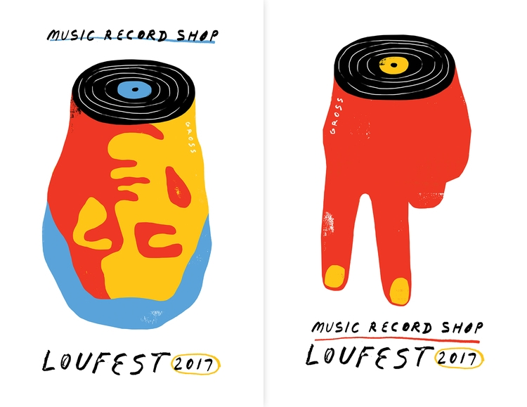 Loufest Music Record Shop - poster - grossillustration | ello
