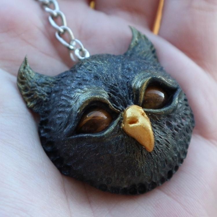 Owl keychain 🦉 - bird, clay, sculpture - skeenep | ello