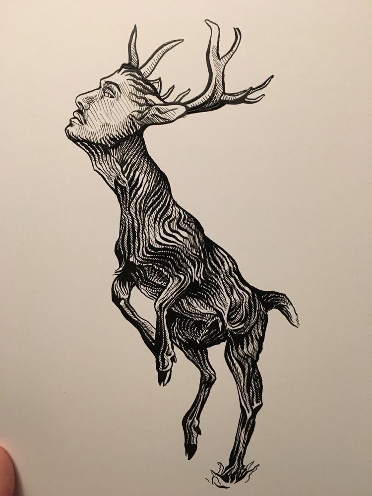 Anamorphic deer  - animal, art, illustration - tjd4art | ello