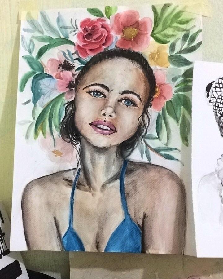 Watercolor, girl, portrait, handmade - artandstoriesco | ello