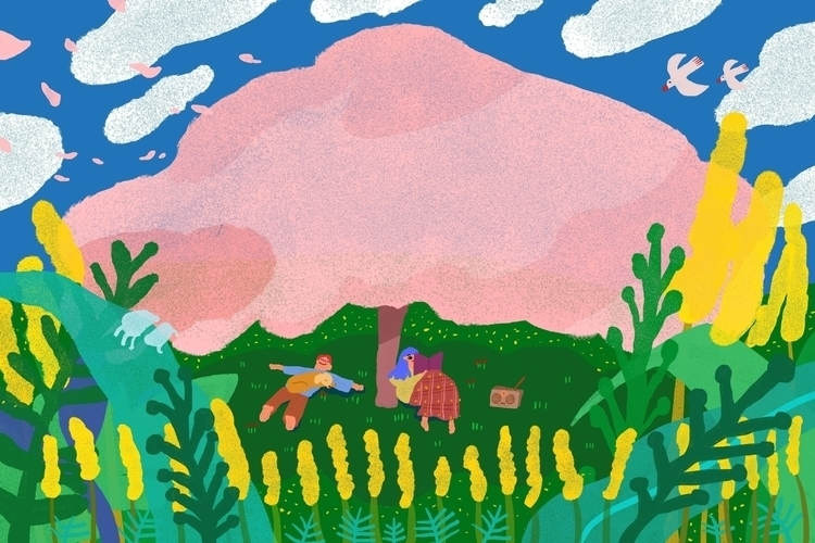 cloud tree - illustration, drawing - draw_spring | ello
