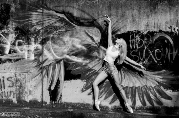 black white action fun dancer  - wolfworx_photography   ello