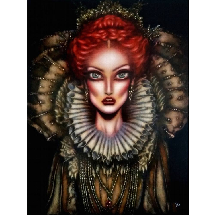 portrait painted Queen Elizabet - tiagoazevedo | ello