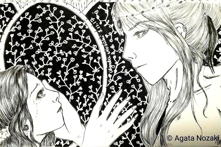 Black White lovers illustration - agatanozaki | ello