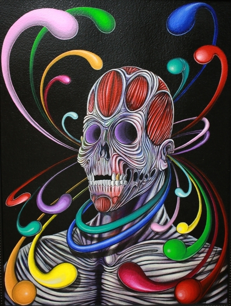 Skully 18x24 Acrylic ink - painting - edrokone | ello