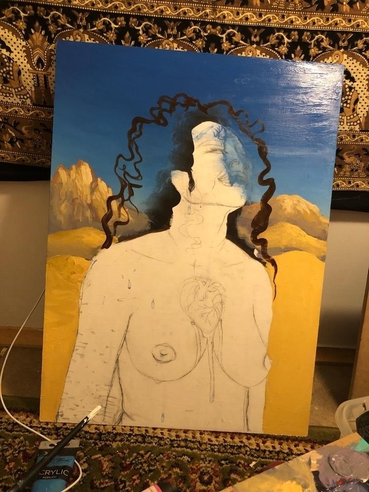 Unfinished - laughing, woman, acrylic - izzyvp | ello