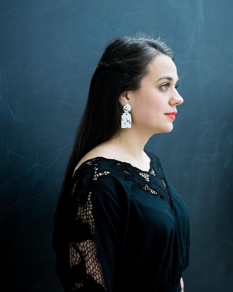 Ink splatter earrings gorgeous  - littleclaystudio | ello