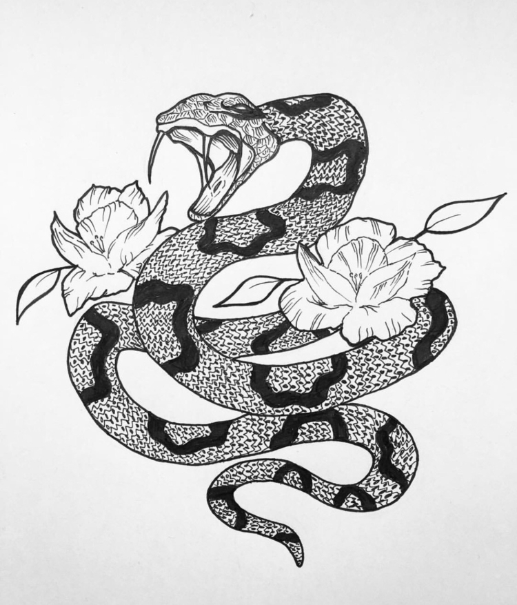 картинки змей карандашом в цветах сати