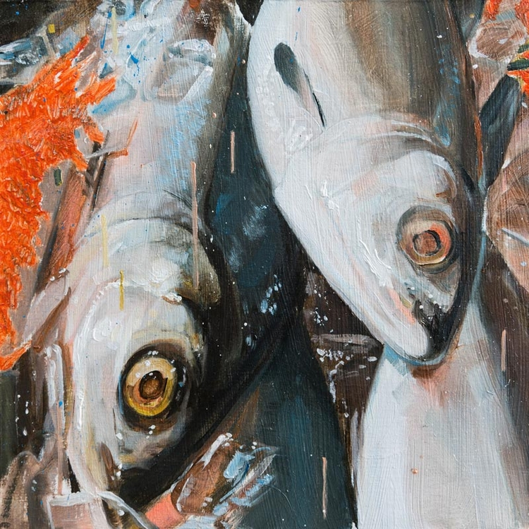 fish study 3 Oil poplar panel,  - jameschleeart | ello