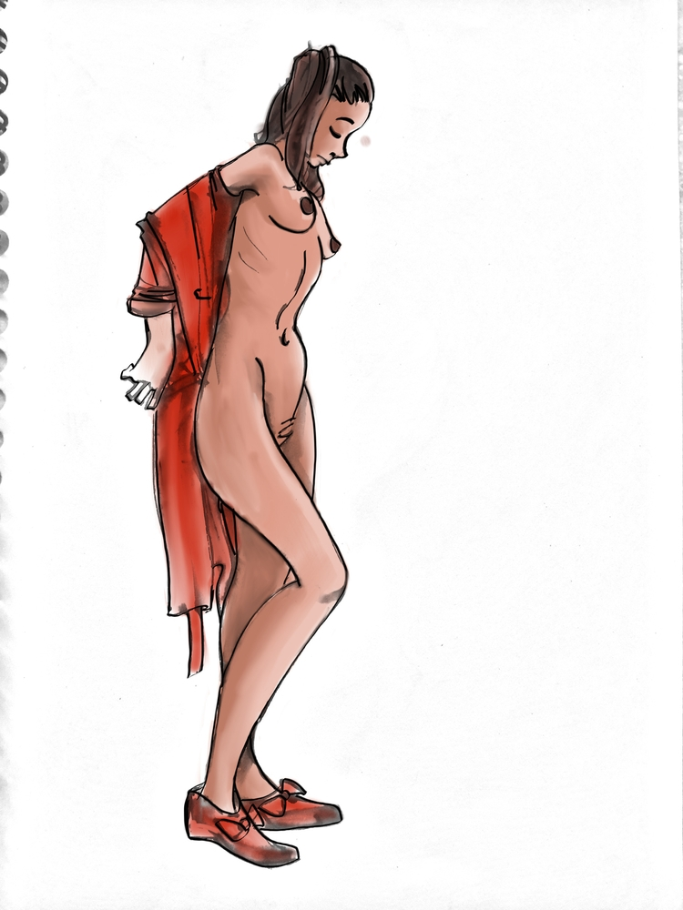 Undressing gesture drawn model  - alifedoodler | ello