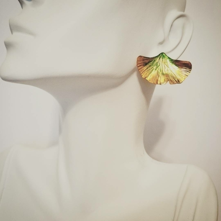Ginko Leaf stud style earrings - artkeryeleigh | ello