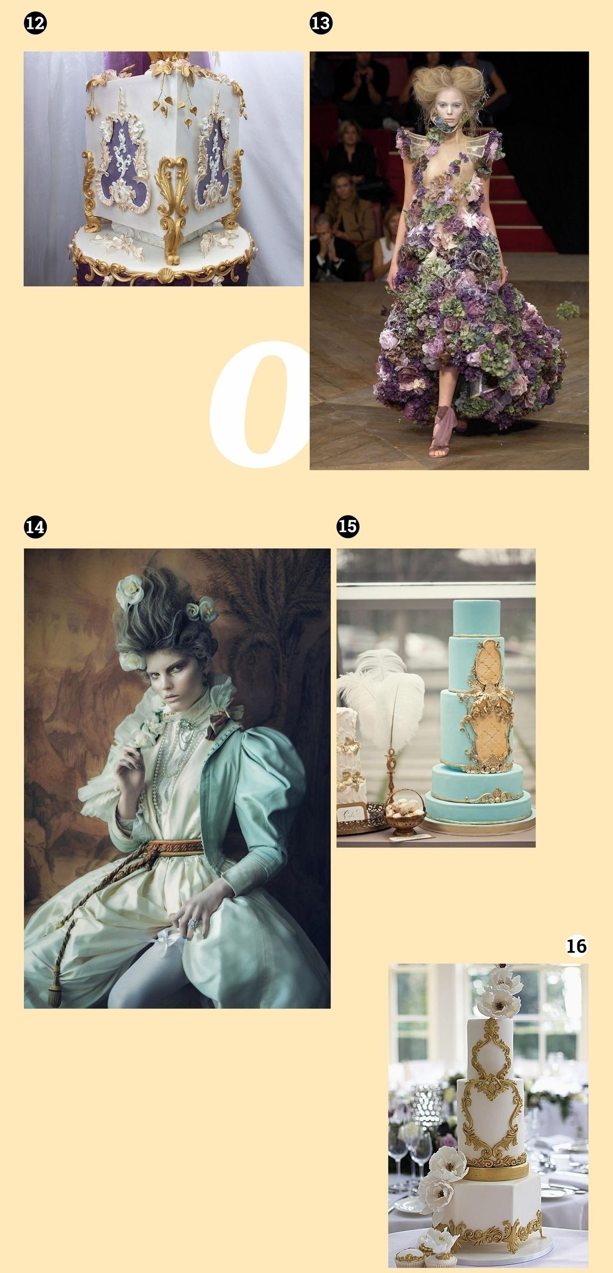 Obraz przedstawia pięć zdjęć na jasnobeżowym tle. Widzimy modelki pozujące w różnych strojach i torty artystyczne.