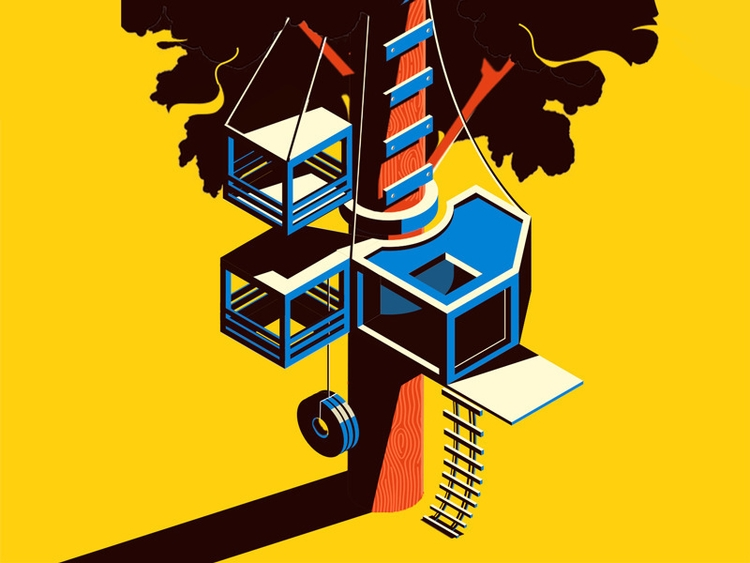 treehouse - isometric, illustration - chrisreath | ello