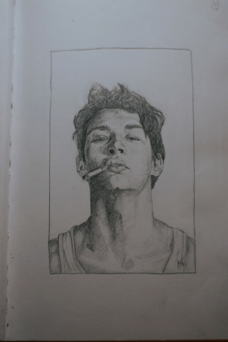 portrait, pencil, sketch, illustration - kaitokun | ello